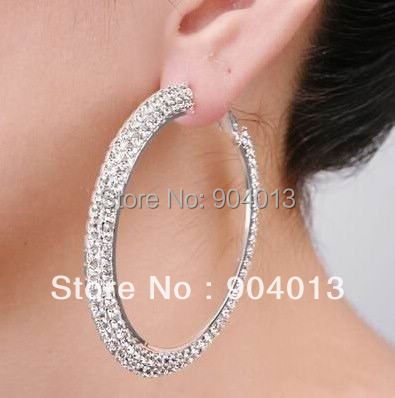 1pcs 40mm New Crystal Rhinestone Hoop Earrings Silver Double Rows Layer Whole Jewellery Free