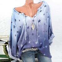 Plus Size 2018 Women Deep V Neck Loose Long Sleeve Tops Leisure Drawstring Baggy Gradient Color
