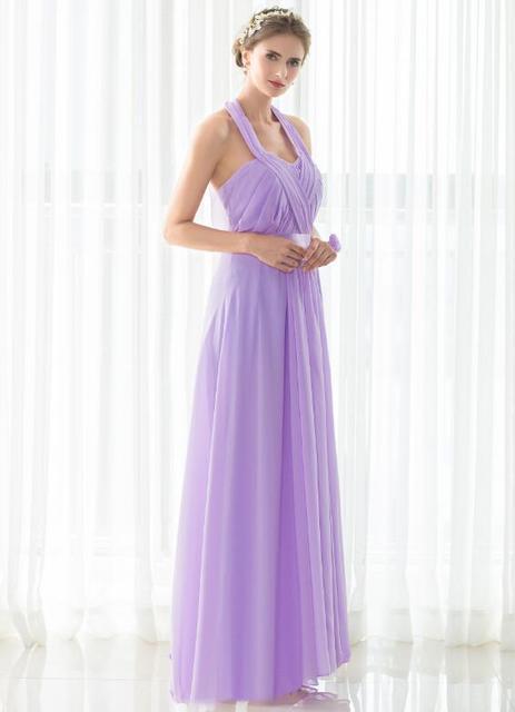 2d2e462a9 Barato Cabestro Piso-Longitud Dama de Honor Vestidos de Boda Vestido de  Fiesta En Stock