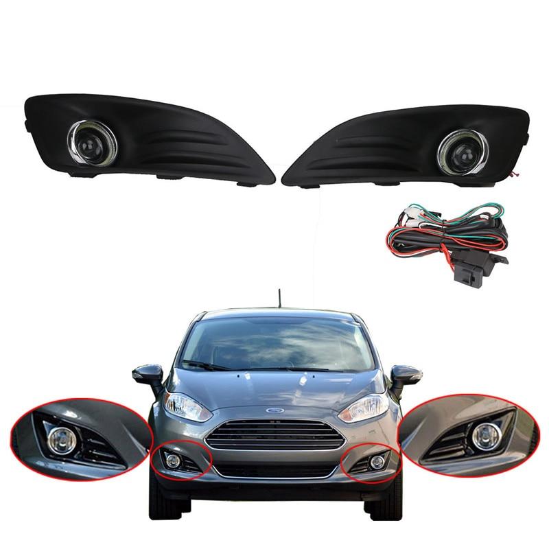 New 1 Pair LED Daytime Fog Lights Projector Angel Eye + Front Bumper Grille for Ford Fiesta 2013 2014 2015 // 2x led fog lights angel eyes lamp front bumper grille grill cover foglight kit for vw golf mk4 98 04