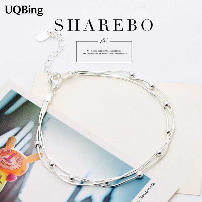 Free Shipping Pure 925 Sterling Silver Bracelets Beads Bracelets Jewelry Srebrna bransoletka pulsera de plata bracelets