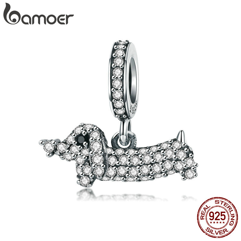 BAMOER Fashion New 925 Sterling Silver Crystal Dog Dachshund Pendant Charms Fit Bracelets & Necklaces Chain Jewelry SCC709BAMOER Fashion New 925 Sterling Silver Crystal Dog Dachshund Pendant Charms Fit Bracelets & Necklaces Chain Jewelry SCC709