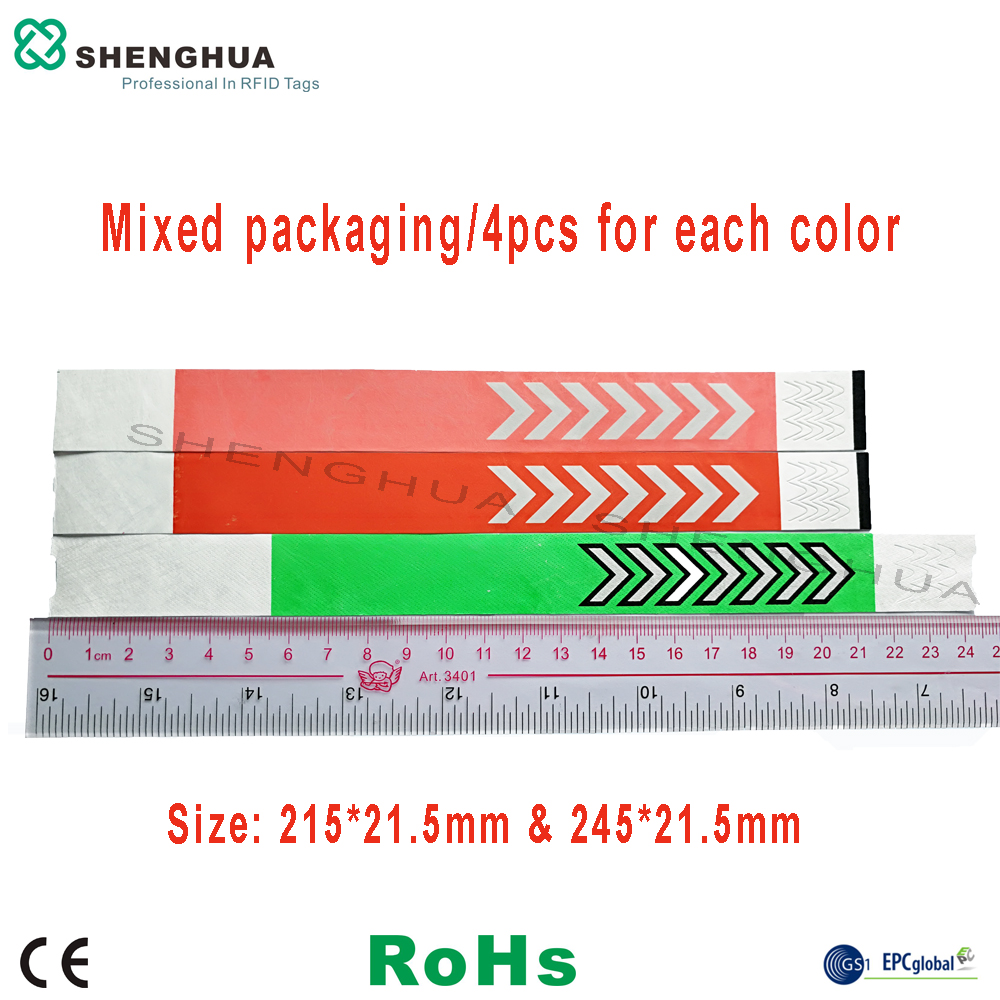 12pcs/pack Adjustable Wristband UHF RFID Tag Color Bracelet Tag Disposable Tyvek Waterproof Event Access Control Security Label