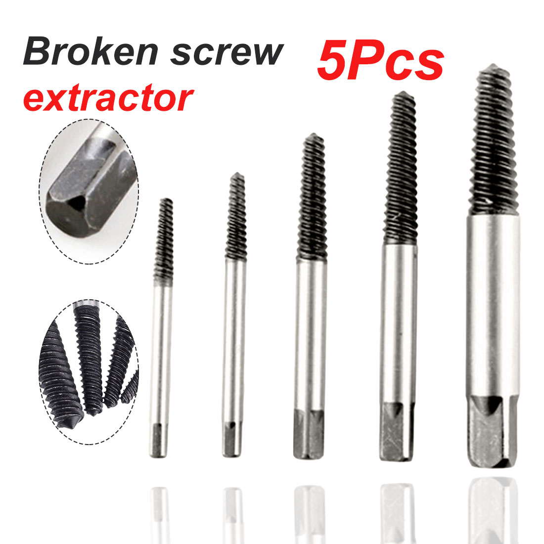 5Pcs/set Carbon Steel Screw Extractor Center Drill Bits Guide Set Broken Damaged Bolt Remover Removal Speed Easy Out Set