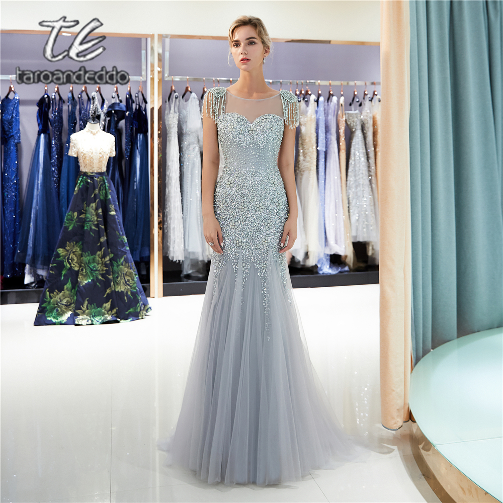 Scoop Mermaid Tulle   Prom     Dresses   Light Grey Cap Sleeves Illusion V Back Sweep Train Long Evening Formal Party   Dress   with Crystal
