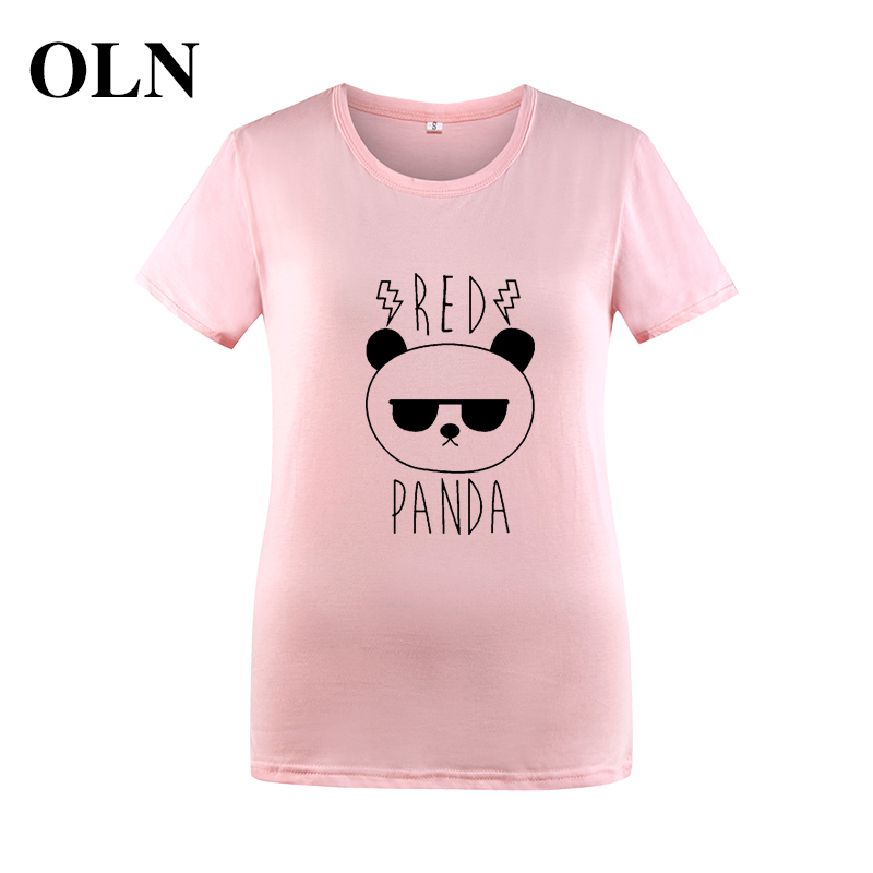 OLN RED PANDA 2018 Kawaii T-shirts Women T Shirt Summer Short Sleeve Tumblr Tshirts Black White Pink Tee Shirt Femme Blusa