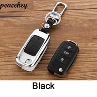 Peacekey Zinc Alloy Leather Car Key Cover Case For Skoda Octavia A5 1 2 3 Fabia
