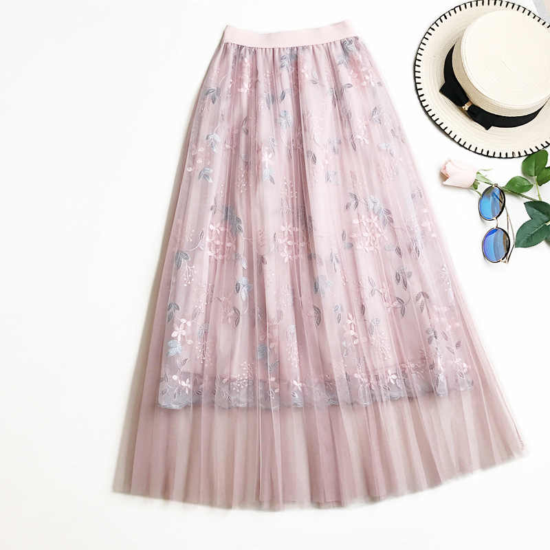 2019 Summer Floral Embroidery Tulle Skirts High waist A word Long skirt High Waist Pleated skirt Female Tutu Skirts