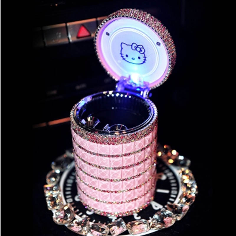Portable Car ashtray with Light Hello Kitty KT Accessories for Girls Led Car Ash Tray Ashtray Storage Cup Holder Crystal Diamond auto ashtray cup shaped shiny finish with hook