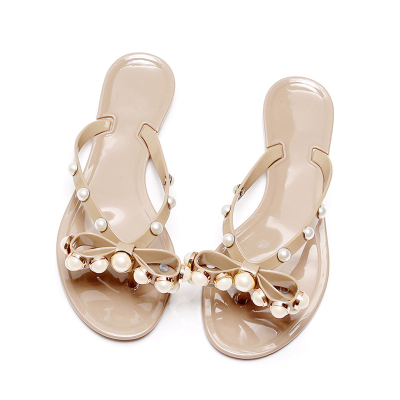 Bow Knot Pearl Jelly Slippers Women Shoes 2019 Summer New -4052
