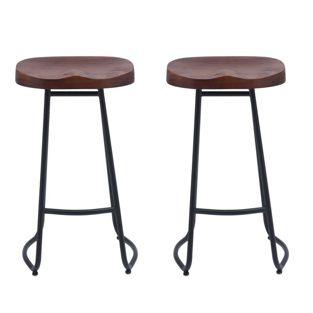 2 PCS Pub Bar Stool Classic Backless Barstool Vintage Rustic Design Kitchen Wooden Stool Industrial Style Home Furniture