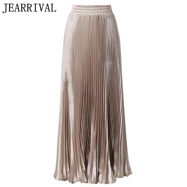 35a054031e2 Women Long Pleated Skirt 2017 New Spring Runway Style Metallic Color High  Waist Big Swing Maxi