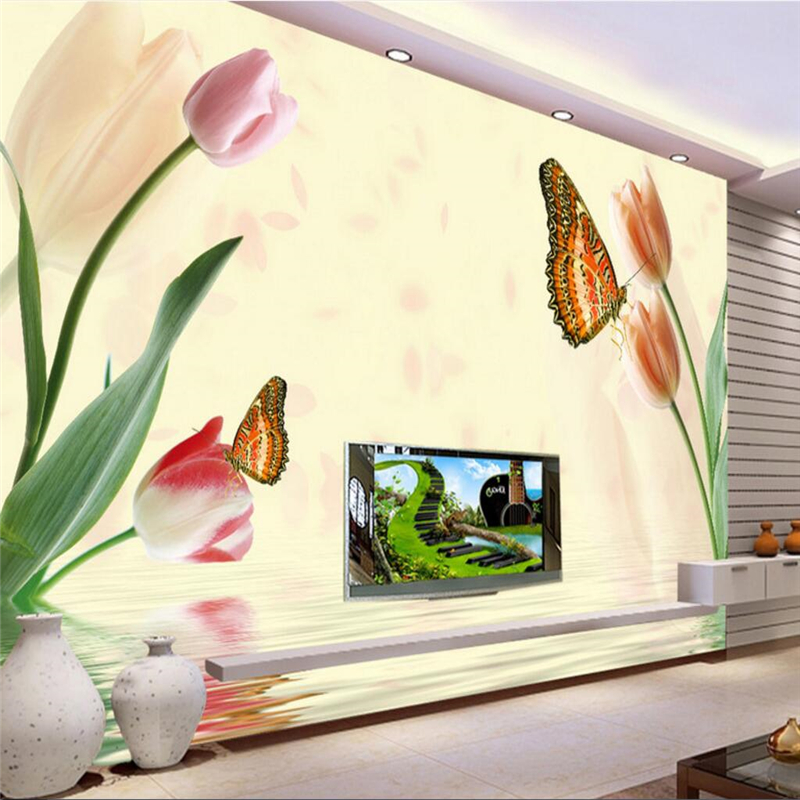 beibehang papel de parede wallpaper for walls 3 d Custom photo wall murals wall stickers dream tulips reflection wall frescoes
