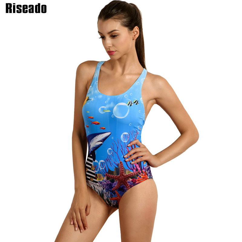 Riseado New 2018 One Piece Swimsuit Sports Competition Swimwear Women's Swimming Suit Printed Backless Bathing Suits riseado new 2018 one piece swimsuit splice swimwear sports swimming suits women professional bathing suits training swimwear