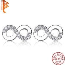 3844a5a04d96 Auténtica Plata de Ley 925 doble 8 infinito Stud pendientes para las mujeres  boda joyería regalo de San Valentín