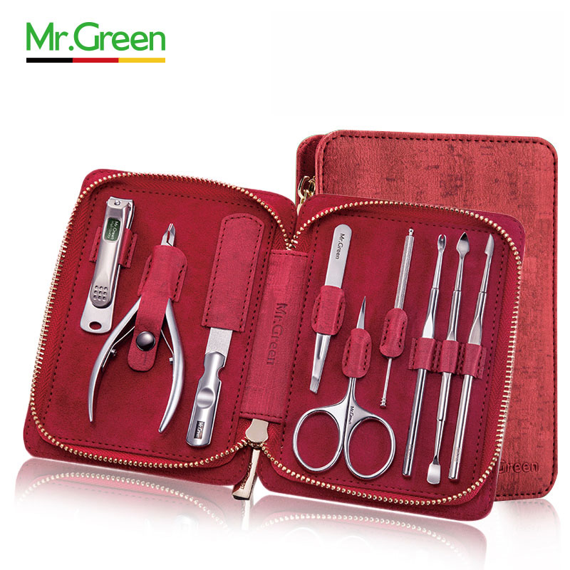 MR.GREEN 9 IN 1 multi-function tools nail clippers Manicure Set Professional Stainless steel nail clippers scissors grooming kit 1 set 9 piece garden tools scissors shovel harrow home supply stainless steel