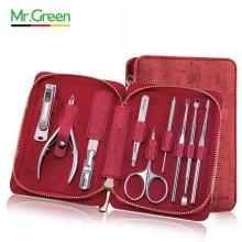 MR.GREEN 9 en 1 herramientas multifuncionales cortaúñas cortapelos Set de manicura profesional acero inoxidable cortauñas tijeras kit de aseo