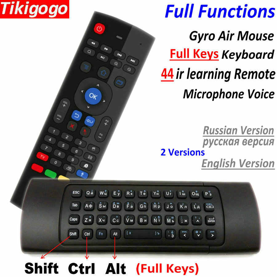 TK3 2.4G Wireless Fly Air Mouse Keyboard Rusia Bahasa Inggris 44 IR Belajar Suara untuk Android Smart TV Box PK MX3 G30 Remote Control