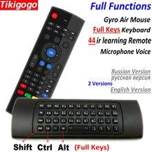 TK3 2.4G kablosuz Fly Air fare klavye rusça İngilizce 44 IR öğrenme ses için android akıllı tv kutusu PK MX3 G30 uzaktan kumanda