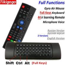 Tk3 2.4g voar teclado do rato de ar sem fio russo inglês 44 ir aprendizagem voz para android caixa tv inteligente pk mx3 g30 controle remoto