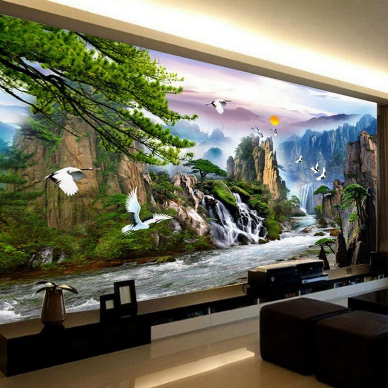 Montagne cascade paysage chinois bricolage précis imprimé complet point de croix Kit de broderie couture fait à la main compté artisanat cadeau
