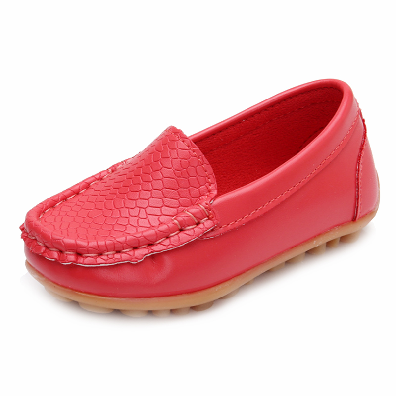 MACH New Children Shoes Classic Fashion PU Shoes for Girls Boys Shoes Flat Casual Kids Shoes(Red)