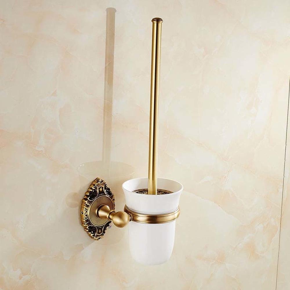 A1 European retro copper toilet brush holder toilet cup bathroom toilet brush holder LO731347 antique brass artistic bathroom toilet brush holder