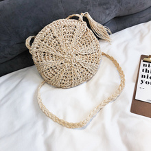 2019 New Round Women Lady Handmade Knitted Woven Rattan Bags