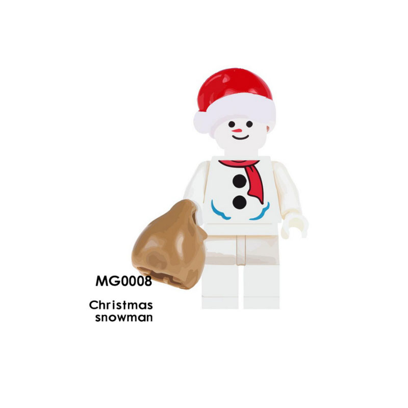 Single Sale Super Heroes Star Wars MG0008 Christmas snowman Mini Building Blocks Figure Brick Toy gift Compatible Legoed Ninjaed christmas snowman toy kids gift star shape candy jar