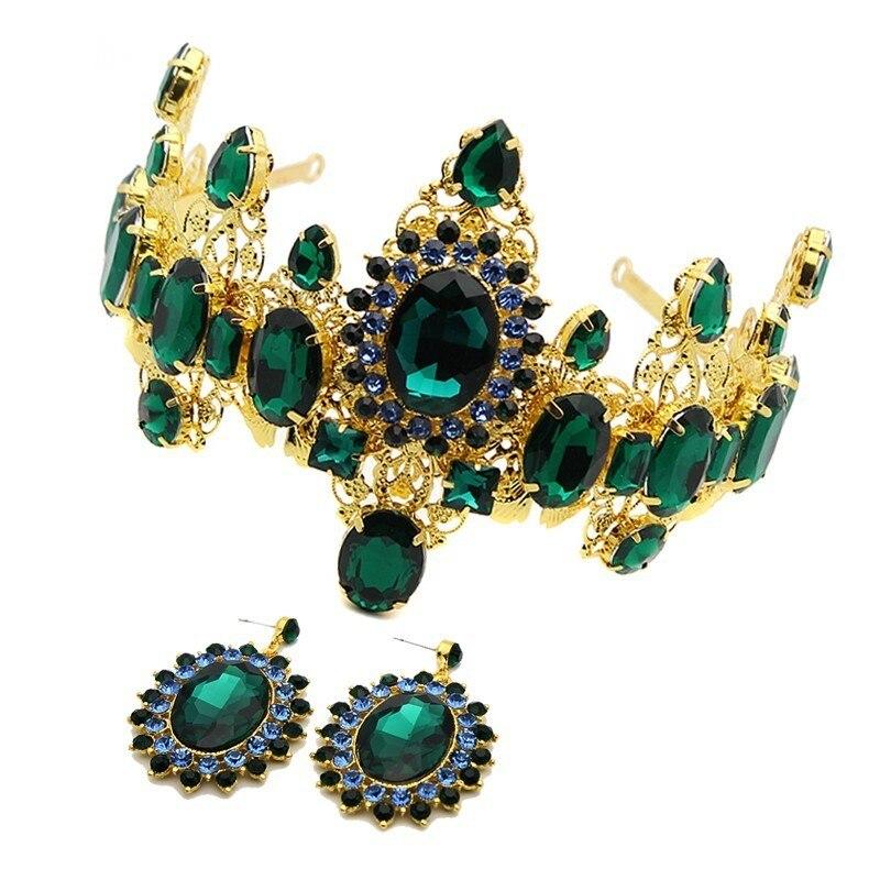 Hair Jewelry Bridal Tiara Crown Diadem Wedding-Queen Vintage Pageant Large Green Rhinestone