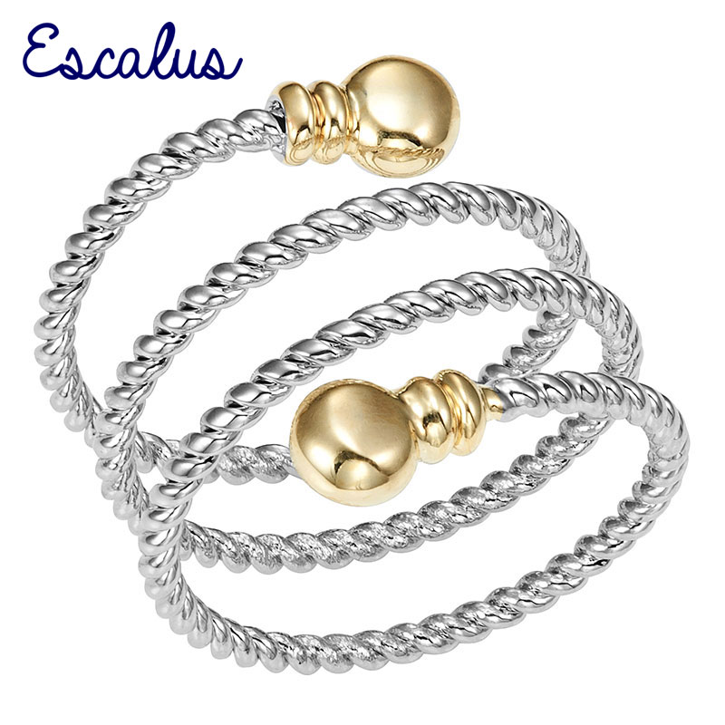 Escalus Casual Ladies Silver Color 3-Circles Women Magnetic Ring Resizable Female Magnet Fashion Jewelry Charm Finger Wear