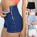 2016 Mujeres Del Verano Ripped Flaco de Cintura Alta Pantalones Cortos de Mezclilla Delgada Hot Tight Un Botón Lateral Pom Jeans Cortos de cintura alta