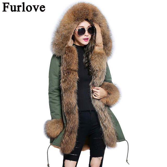 Furlove 2017 Women winter coat outwear warm natural large raccoon fur collar real parka Faux liner Army green parkas