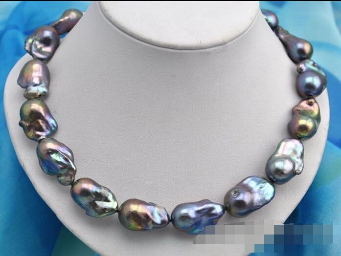 Collier de perles de style baroque noir keshi 17 28mmCollier de perles de style baroque noir keshi 17 28mm