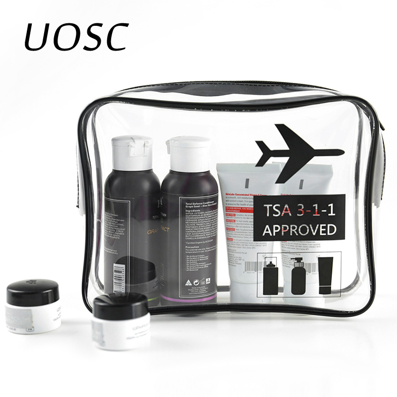 UOSC Transparent Wash Makeup Toiletry Bags For Women/Men Waterproof Travel Cosmetics Storage Neceser Clear TPU Cosmetic Bag
