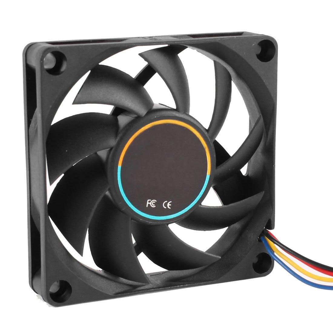 GTFS Hot 70mmx15mm 12V 4 Pins PWM PC Computer Case CPU Cooler Cooling Fan Black aerocool 15 blade 1 56w mute model computer cpu cooling fan black 12 x 12cm 7v