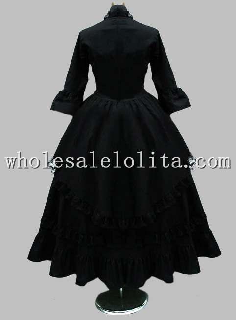 Готическое черное хлопковое кружевное британское викторианское платье сценический костюм