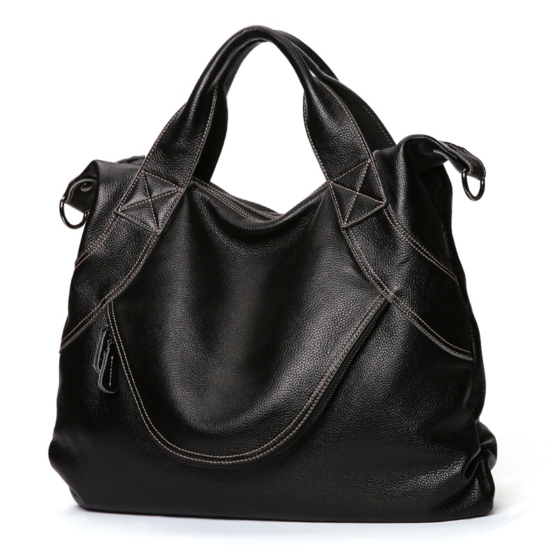 New Casual 100% Genuine Leather Women Handbag Shoulder Bags Luxury Fashion Ladies Tote Large Capacity Female Crossbody Bag hahmes 100% genuine leather women bags fashion casual tote handbag wholesale high capacity shoulder bag 31cm 10602