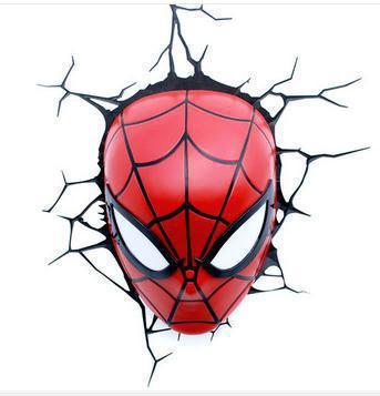 ФОТО creative Children Christmas gift birthday Dream master cartoon superhero marvel spider man LED wall lamp bedroom light party