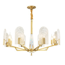 Nordic Creative real brass pendant light modern foyer bedroom gold luxury hanging lamp clear glass crystal lampshade droplight