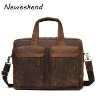 Crazy Horse Leather Men Briefcase Handbag Messenger Bag Portfolio Purse Free Shipping Laptop Case Multi Pockets