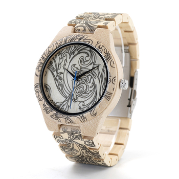BOBO BIRD Tattoo Print Wooden Watches For Men in Wooden Box