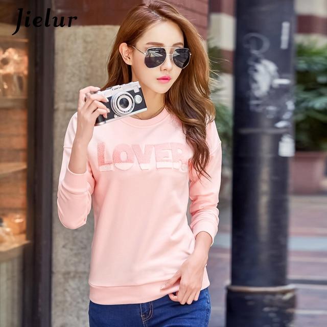 Jielur Korean Style LOVER Letter High Street Moletom Feminino S-XXL Sweet Pink Hoodies Women Simple Harajuku Sweatshirt Dropship