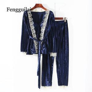 Image 2 - Nova coleção feminina veludo cordão de renda 3 peça conjunto pamaja senhoras ternos cardigan macio + camisola magro calças compridas conjuntos dormir