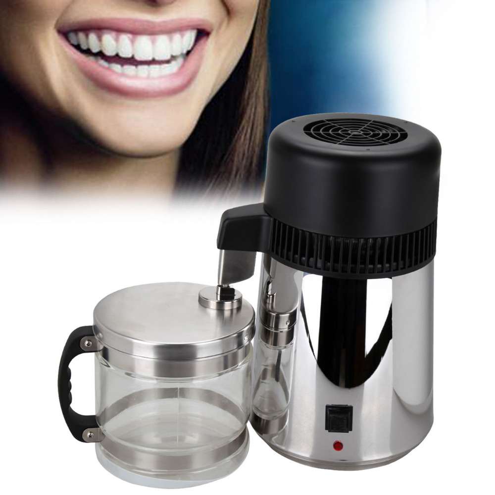 (Ship from Germany) 4L Pure Water Distiller Purifier Dental and Medical Pure Water Maker Stainless Steel Body & Filter Glass Bot ship from germany 4l pure water distiller purifier dental and medical pure water maker stainless steel body