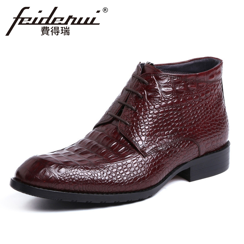 Luxury Designer Genuine Leather Men's Formal Ankle Boots Alligator Round Toe Lace-up High-Top Handmade Riding Man Shoes YMX455 new arrival luxury genuine leather men s handmade ankle boots round toe lace up alligator cowboy riding shoes for man hms84