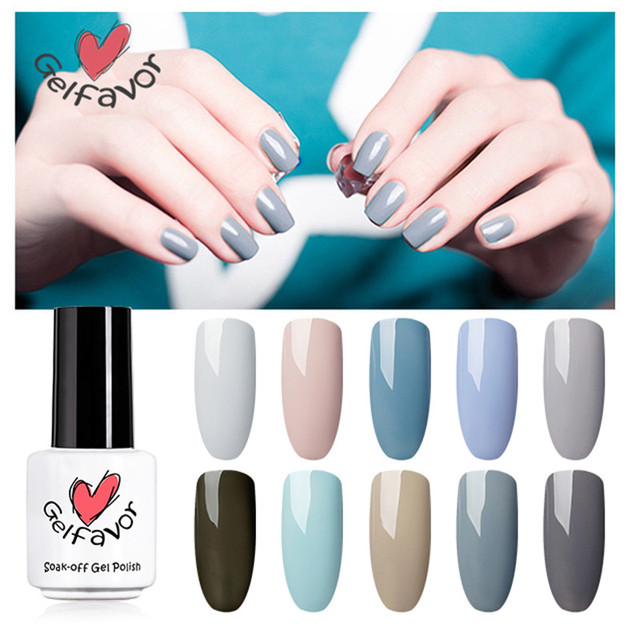 Gelfavor Gray with Nude Color Series Gel Nail Polish natural pure ...