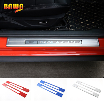 BAWA Pedal Guard for Ford Mustang Aluminum Hollow Out Door Sill Scuff Plate for Ford Mustang 2015+ Car Accessories