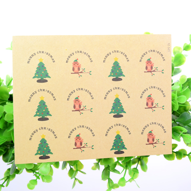 Hand made MERRY CHRISTMAS Scrapbooking Kraft Paper Labels Envelopes Packaging Seals Sticker DIY For Cake Box Wrapping Baking