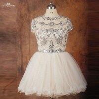 Rse736 мокко Кепки рукав короткое платье; с кристаллами Bling Бальные платья Плюс Размеры